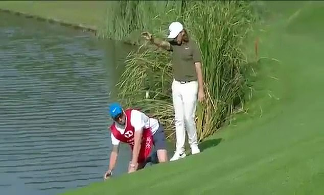 Tommy Fleetwood was forced to take a drop shot at the par 5 14th hole in Shanghai