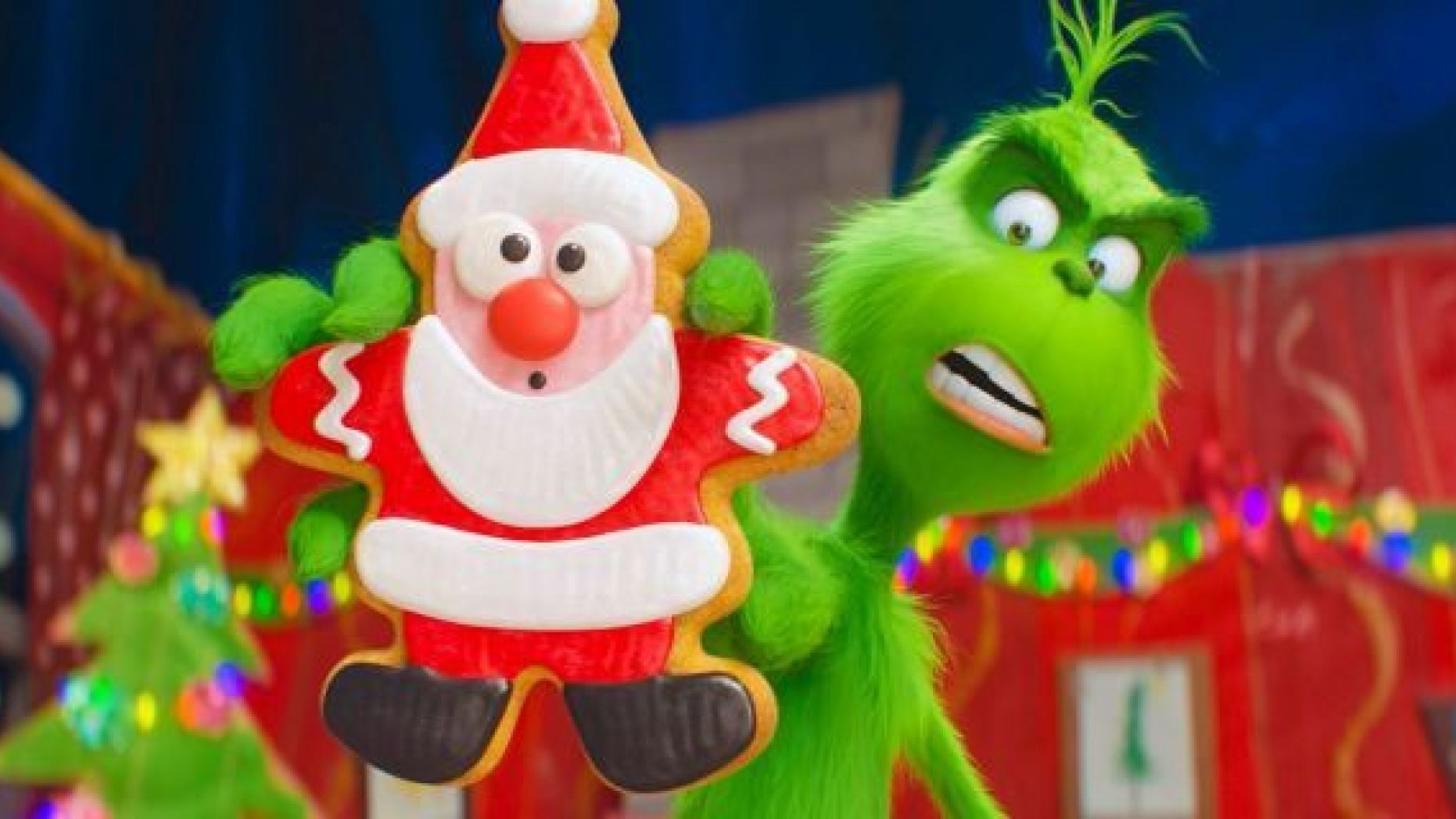 """This image released by Universal Pictures shows the character Grinch, voiced by Benedict Cumberbatch, in a scene from """"The Grinch."""" (Universal Pictures via AP)"""