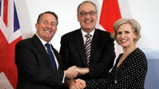 Liam Fox, Swiss Economic Minister Guy Parmelin and Liechtenstein