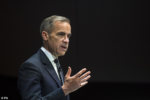 Mark Carney (pictured today in London) warned politicians to find a way out of the Brexit impasse today because no deal would be another blow to the ailing world economy