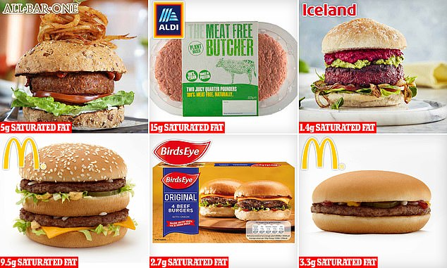 Ranked: The  vegan Tesco Beyond Burger, which is also served at All Bar One (top left) has 3.8g of saturated fat, ALDI