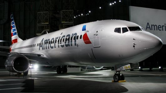 An American Airlines Inc. Boeing Co. 737-800 plane is displayed during an event at Dallas-Fort Worth International Airport in Fort Worth, Texas.