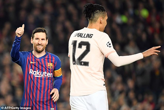 Lionel Messi (left) scored twice as Barcelona thrashed Manchester United 3-0 on Tuesday