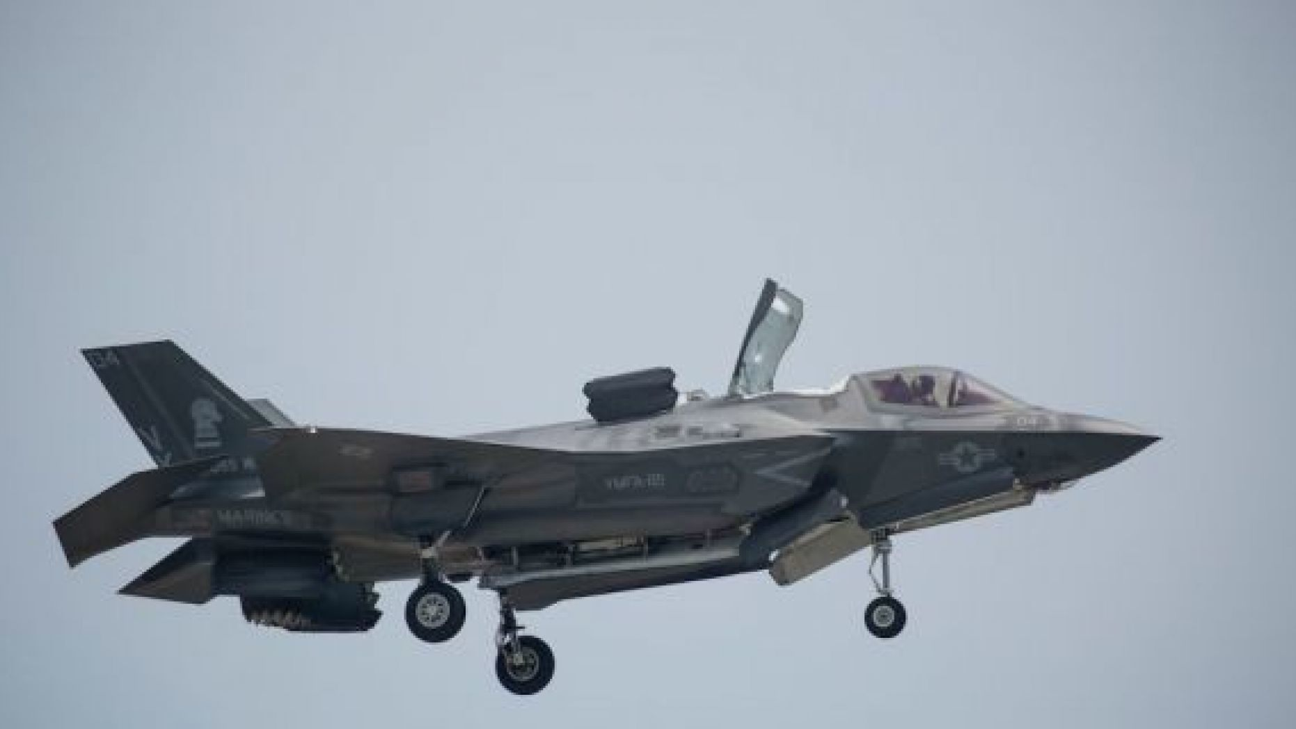 "An F-35 fighter jet is seen in this undated photo. The Pentagon announced it ""suspended"" deliveries of F-35 fighter jet parts and manuals to Turkey over the Middle Eastern country"
