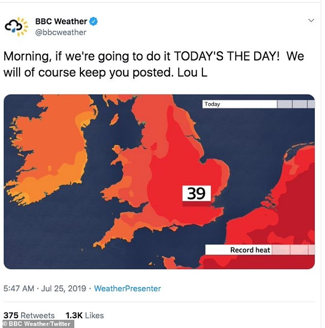 BBC Weather posted a tweet yesterday saying it could potentially see the previous heat record of 38.5C broken