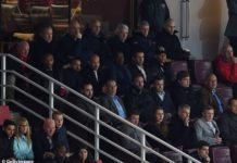 Thierry Henry (second row down, far left) now watches matches at the Emirates undetected (this image is a previous general example of Henry watching Arsenal in 2016)