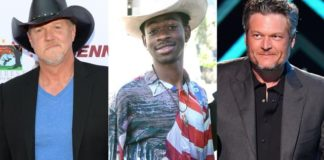 (Left to right) Trace Adkins is pictured with Lil Nas X and Blake Shelton. In Adkins