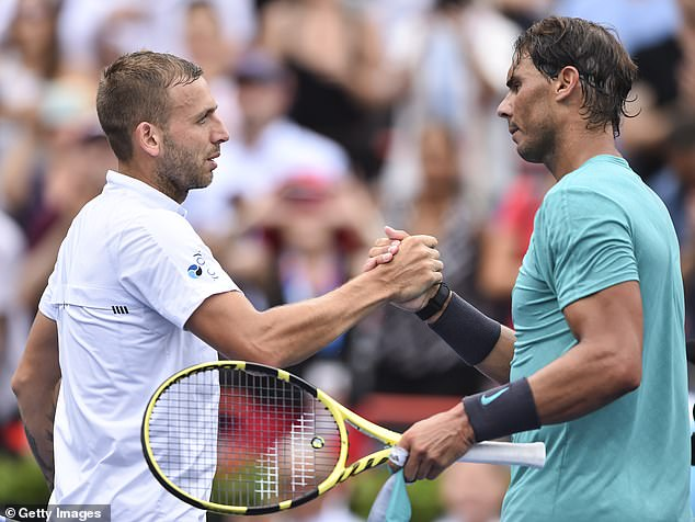 Dan Evans pushed Rafael Nadal in their first meeting before going down in straight sets