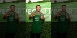 """Colton Underwood at the Morningstar Farms """"Lose Your Veginity"""" event in New York City."""
