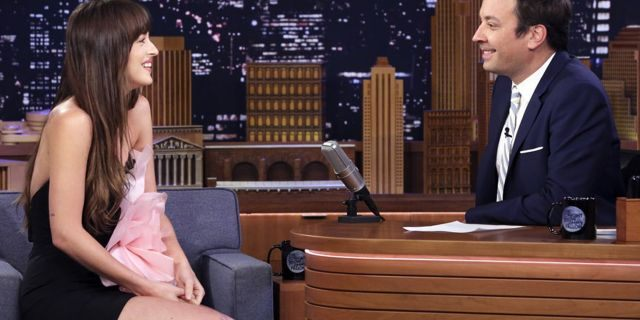 THE TONIGHT SHOW STARRING JIMMY FALLON -- Episode 1103 -- Pictured: (l-r) Actress Dakota Johnson during an interview with host Jimmy Fallon on August 6, 2019 -- (Photo by: Andrew Lipovsky/NBC)