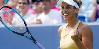 Madison Keys, of the United States, celebrates after defeating Svetlana Kuznetsova, of Russia, in the women