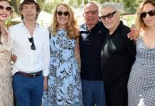 """From l-r: Elizabeth Jagger, Mick Jagger, Jerry Murdoch, Executive Chairman News Corp. & Co-Chairman Fox Corporation Rupert Murdoch, Harvey Keitel, and Daphne Kastner attend a BBQ lunch in the vineyard """"Celebrating Thirty Years of Moraga Bel Air"""" hosted by Jerry and Rupert Murdoch on Aug. 25, 2019 in Bel Air, California."""