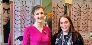 Megan Turner was diagnosed with the life-threatening condition intracranial hypertension after a routine check-up at Specsavers. The mother-of-three is pictured left with theoptometrist Emma Ginger, who noticed Miss Turner