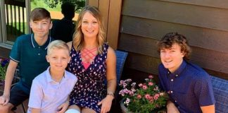 Alecia Kennen, 37, of Rice Lake, Wisconsin, got a rug burn on her right shoulder after tripping over her dog in June 2015. Pictured: Kennen, center, with her three sons