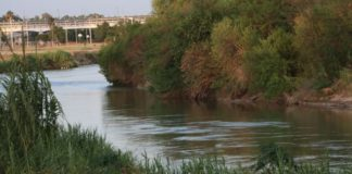 In Laredo, the distance between Mexico and the U.S. is just a short, but risky, swim. (Adam Shaw/Fox News)