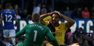 Jordan Pickford used his face to deny the powerful Troy Deeney from close range at Goodison