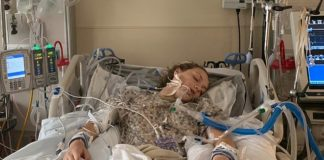 Maddie Nelson, 18, from Nephi, Utah, said she began vaping three years ago and did so nearly every day like most kids in her school. Pictured: Nelson in the hospital