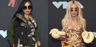 Tana Mongeau, right, and H.E.R. arrive at the MTV Video Music Awards at the Prudential Center on Monday, Aug. 26, 2019, in Newark, N.J