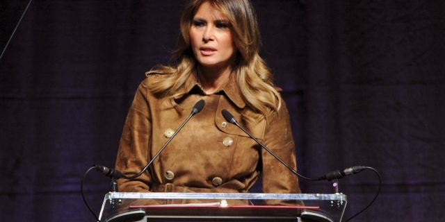 First lady Melania Trump speaks at the B