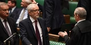 Jeremy Corbyn taking the oath of office as a newly elected MP