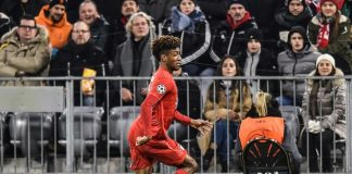 Bayern Munich forward Kingsley Coman was forced off with a serious-looking knee injury