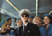 True story:Leonardo DiCaprio as conman Frank Abagnale in the 2002 film Catch Me If You Can