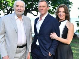 "(L-R) Producer Michael G Wilson, cast member Daniel Craig and producer Barbara Broccoli attend the ""Bond 25"" film launch at Ian Fleming"