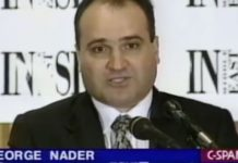 This 1998 file frame from video provided by C-SPAN shows George Nader, then the president and editor of Middle East Insight. Nader, a key witness in former Special Counsel Robert Mueller