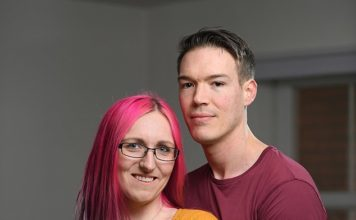 John Vandesquille, 30, has been using the gel since May last year. He signed up for the trial after his partner, 28-year-old Alex Smith (pictured together), was told she would be unable to continue taking the Pill due to it reacting with another medication she was prescribed