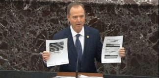 House impeachment manager Rep. Adam Schiff, D-Calif. (Senate Television via AP)