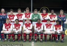 Class of 82: Martin Keown and David Rocastle (circled), along with Hayes and Adams (back row, 3rd and 4th left), Caesar (right of Keown) and Thomas (front row, third from right)