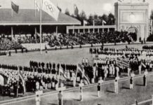 General view of the Opening ceremonies of the 1920 Olympic Games in Antwerp, Belgium. (Photo by Getty Images)