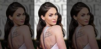 Megan Fox showing off some of her tattoos.