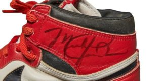 A pair of 1985 Nike Air Jordan 1s, made for and worn by Michael Jordan, in an undated photo ahead of the online auction by Sotheby