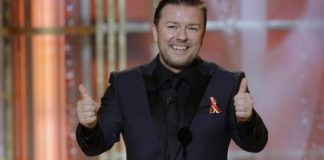 Host Ricky Gervais on stage during the 67th Annual Golden Globe Awards held at the Beverly Hilton Hotel on January 17, 2010.