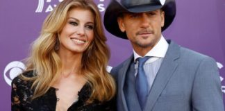 Faith Hill and Tim McGraw arrive at the 48th ACM Awards in Las Vegas on April 7, 2013.