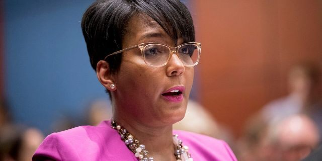 In this July 17, 2019 file photo shows Atlanta Mayor Keisha Lance Bottoms speaks during a Senate Democrats
