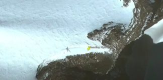 "Scott C Waring found a shadow that shaped like ""a 20m tall alien"" in the Antarctica"