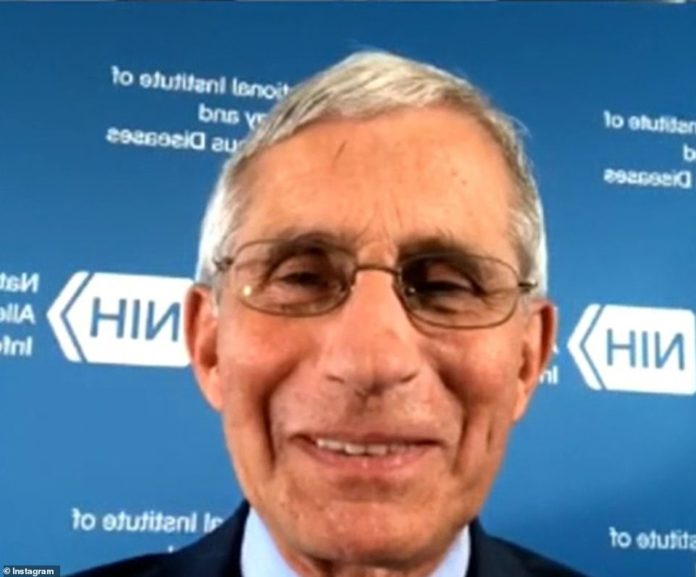 Dr Anthony Fauci suggested wearing goggles or a face shield to fully protect against coronavirus during a Wednesday Instagram Live interview (pictured)