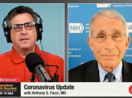Dr Anthony Fauci (right) warned that even a small increase in the rate of people testing positive for coronavirus should tell states to reconsider their reopening timelines in a Monday interview with JAMA editor-in-chief Dr Howard Bauchner (left)