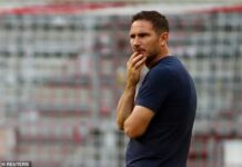 Frank Lampard cut a dejected figure as Chelsea conceded seven goals in a European tie