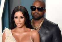 Kim Kardashian and Kanye West attend the 2020 Vanity Fair Oscar Party hosted by Radhika Jones at Wallis Annenberg Center for the Performing Arts on February9.