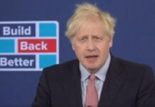 Boris Johnson giving his virtual conference speech