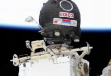 The camera on International Space Station zoomed in on the Russian capsule seconds after a bright UFO entered frame