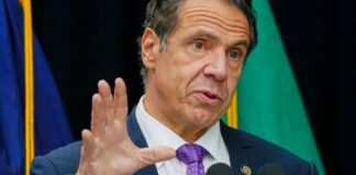 New York Gov. Andrew Cuomo speaks during a ceremony unveiling a statue of Mother Frances Cabrini, the patron saint of immigrants, in Battery Park in New York, on Oct 12, 2020. (AP Photo/Frank Franklin II, File)