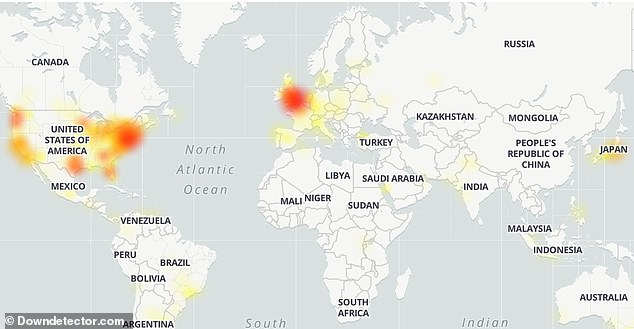An outage map from around 5 p.m. shows the outage hitting more US users, with some experiencing problems in the US and other parts of the world