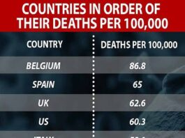 A US study of 19 countries found Belgium has had the highest death toll per 100,000 people. It was followed by Spain, the UK and US