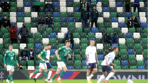 Northern Ireland fans in the stands at Windsor Park