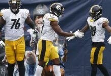 Pittsburgh Steelers wide receiver Diontae Johnson (18) celebrates with JuJu Smith-Schuster (19) and Chukwuma Okorafor (76) after Johnson scored his second touchdown of the game against the Tennessee Titans in the first half of an NFL football game Sunday, Oct. 25, 2020, in Nashville, Tenn. (AP Photo/Wade Payne)