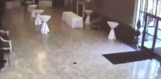 Three sets of venue doors were blown open at the same time as the worker re-watched the footage